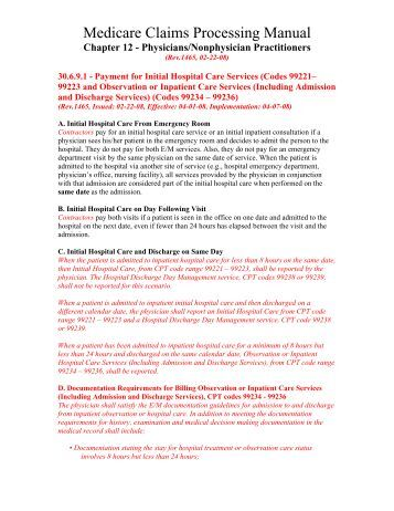 medicare claims processing manual chapter 30